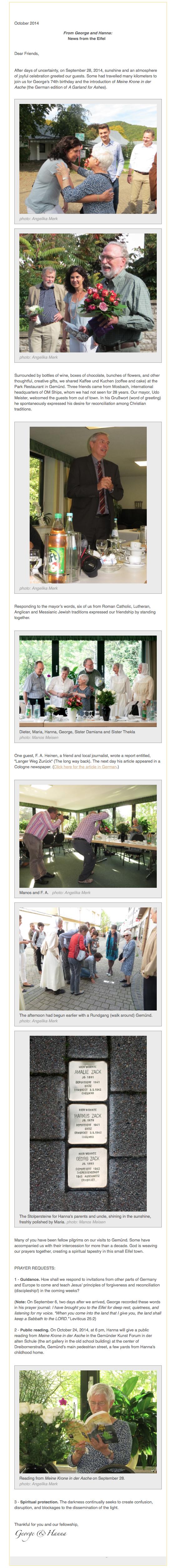 October 2014 email update for website